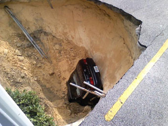 Sinkhole swallows Toyota